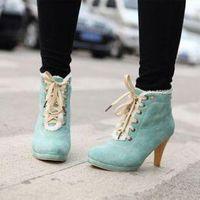 Fleece-Trim Lace-Up Ankle Boots