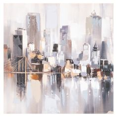 Abstract New York Hand Painted Canvas Abstract City, Abstract Landscape, Landscape Paintings, Simple Acrylic Paintings, Oil Painting Abstract, Hand Painted Canvas, Canvas Art, New York Painting, Skyline Painting