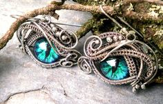 SOLD Gothic Steampunk Evil Eye Sterling Silver Ring 5 and Earring Set  by twistedsisterarts.com....etsy