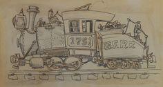 365 Days of Ward Kimball (119. Train drawing by Ward Kimball.)