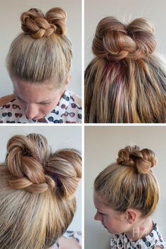 Braided bun with a twist. An easy way to complete your contemporary look! Good for the office....     http://www.bhbeautycollege.com