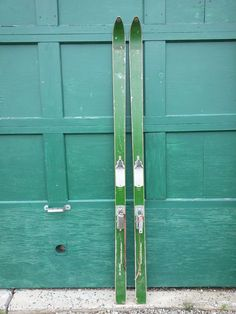 "GREAT OLD Wooden Skis 76"" Long With GREEN Finish Binding Great for Decorating"