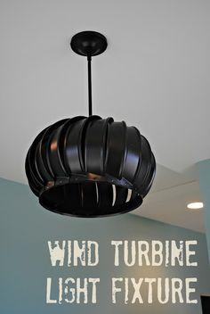 Wind Turbine Light Fixture Tutorial - So You Think You're Crafty - or this? Wind Turbine Light Fixture Tutorial - So You Think You're Crafty - or this? Rustic Lighting, Unique Lighting, Home Lighting, Lighting Ideas, Wall Lighting, Industrial Lighting, Garage Lighting, Modern Industrial, Industrial Design