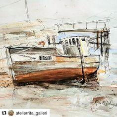 Så flink du er å tegne. #reiseliv #reisetips #reiseblogger #reiseråd  #Repost @atelierrita_galleri with @repostapp  Tegning etter skisse. Gammel båt fra Røst. #båt#tegning#blekk#pennetegning #gammelbåt