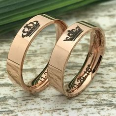 5mm Rose Gold Stainless Steel Rings King and Queen Rings His