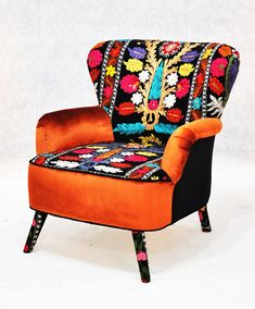 RESERVED ITEM for KSENIA: Patchwork armchair with Suzani fabrics によく似た商品を Etsy で探す