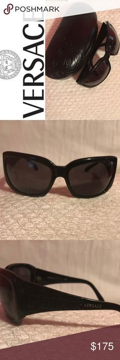 EUC Versace Sunglasses Gorgeous  Versace Sunglasses Black Frames and Lenses Versace Logo on Earpiece Comes with Case. Superior Used Condition Versace Accessories Sunglasses
