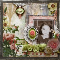 """""""Genuine Girl"""" layout with botanicals in deep pink with a limey sage green on a brownish gray background."""