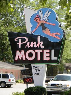 Pink motel neon light