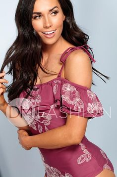 Off The Shoulder Double Ruffle Tankini Top - Red Plum Embroidery Flora – DM Fashion Off The Shoulder Double Ruffle Tankini Top - Red Plum Embroidery Flora