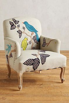 Treescape Dorrance Chair from Anthropologie - love the birds! It'd be fun to paint a plain canvas chair like this!