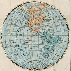 """1853 Japanese map of Western hemisphere, from """"Pocket map of all the countries in the world ."""" 掌中万国図. Creator: Kudō, Tōhei. University of British Columbia Library."""