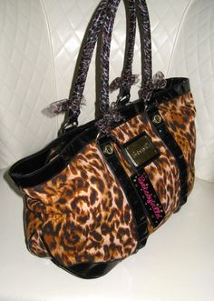 I'm auctioning 'Betsey Johnson Animal Print XL Tote Weekend Bag ' on #tophatter
