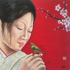 Vandaag is het van 13-17 uur koopzondag in Emmen.  De initiatiefnemers van het Rensenpark heten u van harte welkom!  Kunstwerk van de dag!  Ingo Leth  Sakura 2015 The sound of the spring  Gemengde techniek   Te zien in Galerie Bij Leth in het Rensenpark in Emmen (entree van de voormalige dierentuin)  #kunst #japan #sakura #hanami #kersenbloesem #bird #kimono #japanesebeauty #emmen #art #ingoleth #galeriebijleth #emmenmaakhetmee #schilderij #beelden #glas #painting #gallery #kunst