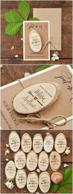 Wedding Save the Date card with wooden magnet #wood #wedding #rustic #savethedate