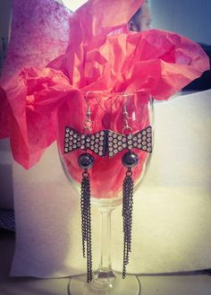 Check out this item in my Etsy shop https://www.etsy.com/listing/267381158/rhinestone-bow-dangle-earrings