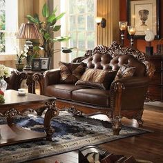 Vendome Loveseat w/ 2 Pillows in Cherry PU & Cherry - Acme Furniture an elegant and traditional design in living room, the Versailles sofa set is your ideal choice. Seating in a crescent environment and feeling like royalty, you can be Acme Furniture, Sofa Furniture, Living Room Furniture, Living Room Decor, Tuscan Living Rooms, Leather Furniture, Antique Furniture, Furniture Ideas, Furniture Design