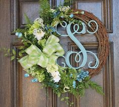 Green and turquoise wreath, Spring wreath, Monogram wreath, Summer wreath, Year round wreath