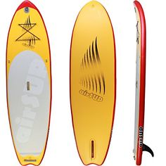 """airSUP 9'6""""x32""""x4"""" Inflatable SUP 15psi Stand Up Paddleboard, Roll It up and Store in the Bag, Yellow, Super Light! airSUP"""