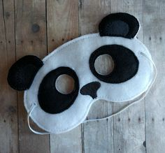 Felt Panda Mask, Elastic Back, Black and White Acrylic Felt, Made in USA, Cosplay, Costume, Dress Up Animal Mask, Photo Booth Prop