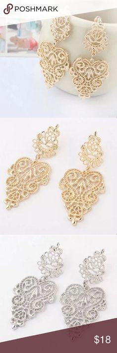 Gold or silver plated elegant dangle earrings New. Stunning gold or silver plated dangle earrings. Available: one pair in gold, one pair in silver. Thank you for visiting my closet, please feel free to ask questions and make offers. I offer great discounts on bundles  lucy6mahon Jewelry Earrings