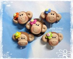Cute Monkey Polymer Clay Charm Bead by rainbowdayhappy on Etsy, $2.25