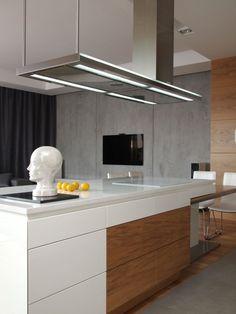 Küche Kochinsel-Design ideen-gestaltung raue-Betonwand Penthouse-in-Mokotow