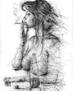 Scribble Art To Make Your Home And Office Look Awesome - Bored Art Art Drawings Beautiful, Dark Art Drawings, Pencil Art Drawings, Art Drawings Sketches, Ballpoint Pen Art, Scribble Art, Human Drawing, Portrait Art, Erotic Art