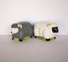 White and Gray Sheep, Salt and Pepper Shakers by KleinDesignVintage on Etsy