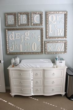 how clever; use a dresser for a changing   table so it can be functional when they get older instead of purchasing an   expensive changing table you'll have to turn around & sell
