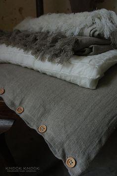 linen pillow case + throws