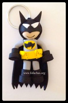 Mini Batman Fofucho keychain. This Fofucho is made using foam sheets. He is only 3 inches. perfect for kids to attach to their backpacks too. To order visit fofuchas.org like us on facebook.com/fofuchashandmadedolls  #Batman #fofuchas #keychains