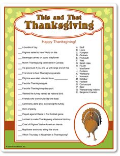 Printable This & That Thanksgiving Trivia - Funsational.com