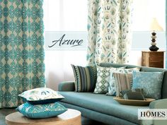 Give your home the feeling of #Azure with #HomesFurnishings. Explore more on www.homesfurnishings.com #HomeDecor #HomeFabrics #Cushions #Furnishings #Curtains