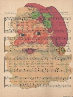 Free Santa image on music paper / Rusty Rooster Vintage