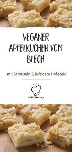 Veganer Apfelkuchen vom Blech From tin, vegan and delicious above ground: the apple pie is well received by everyone, because who doesn't love crumble and airy yeast dough? The apple layer is wonderfully fruity and juicy … A tasty gourmet! Desserts Végétaliens, Vegan Dessert Recipes, Vegan Sweets, Baking Recipes, Cake Recipes, Food Cakes, Snacks Sains, Savoury Cake, Going Vegan