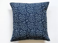 Indigo Pillow cover in Warli Tribal Print  Block Print throw pillows Indigo Block Print cushion cover 16 x16, $13.00