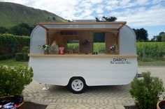 Darcy's first outing. Craggy Range Winery, Hawkes Bay. Caravan Bar.