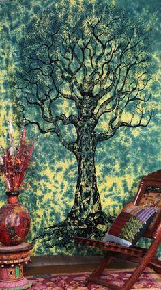 Boho Zeckos Giant Green Celtic Tree Of Life Bohemian Tapestry Hippie Mandala - Free Shipping