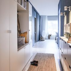 Plan a clutter-free hallway with IKEA PLATSA wardrobe and storage organising series. (And never feel the pressure to bring work into your own home. Ikea Hallway, Ikea Entryway, Hallway Furniture, Entryway Storage, Ikea Inspiration, Hallway Inspiration, Hallway Ideas, Armoire Entree, Windows