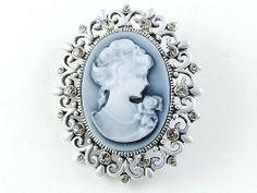 Cameo Maiden Maid Cameo Rose Black Diamond Color Crystal Rhinestone Brooch Pin Alilang. $7.99
