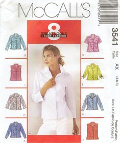MCCALLS 3541  Front-Buttoned Classic Shirts w/Sleeve variations