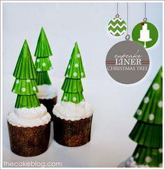 我們看到了。我們是生活@家。: 杯子蛋糕上面用蛋糕紙杯做創意的小聖誕樹,可愛加分!來自The Cake Blog