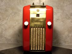 Antique Radio, Tube Refrigerator Radio, Art DECO, Westinghouse H-125/126. Just discovered this radio model recently and have one in blue.  The red color is awesome and may repaint mine - the cabinet needs some work anyway.  This has become a favorite but they're very popular on ebay and hard to get at a decent price in working condition.