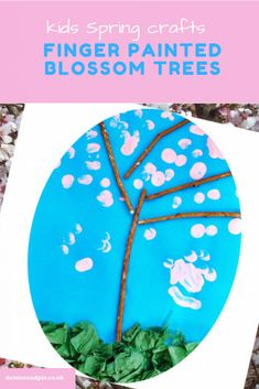 "Text overlay saying "" kids spring crafts - finger painted blossom tree Spring Crafts For Kids, Crafts For Kids To Make, Art For Kids, Kids Crafts, Toddler Crafts, Spring Activities, Craft Activities For Kids, Craft Ideas, Finger Painting For Kids"
