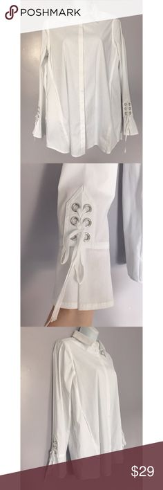 {Nanette Nanette Lepore} Corset & Flutter Sleeve NWOT Crisp white button down shirt with corset-style detail on flutter cuffs. Side pockets and curved back hems. Tab front. Small mark on back that should definitely come out! Nanette Lepore Tops Button Down Shirts