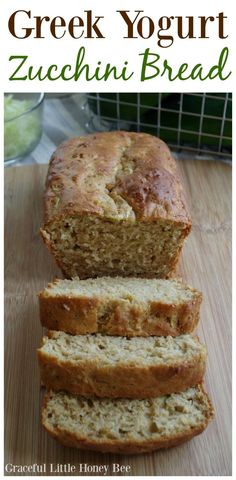 Greek Yogurt Zucchini Bread – Graceful Little Honey Bee See how to make Greek Yogurt Zucchini Bread for a delicous homemade treat using fresh shredded zucchini on gracefullittlehon… Tasty Bread Recipe, Healthy Bread Recipes, Zucchini Bread Recipes, Cooking Recipes, Healthy Zucchini Bread, Shredded Zucchini Recipes, Cooking Fish, Zucchini Desserts, Cooking Games