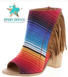 "SERAPE Fringe Peeptoes!! Serape fabric. 3.5"" heel True to size but If you are in between sizes go up to next size Shipping SEPTEMBER 2017. Please contact me to preorder Preorder now. Pay later. $69"