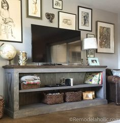 Use one of these free DIY TV stand plans for your own entertainment center for your flatscreen TV. All plans include complete building instructions. Room Decor, Decor, Furniture, Home, Interior, Home Diy, Farmhouse Style Living Room, Sideboard Console, Home Decor