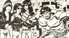 The Ramones meet the Incredible Hulk from Marvel Comics